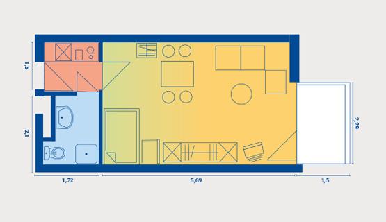 Beispielappartement Typ I | 1-Zimmer-Wohnung | ca. 28 m2