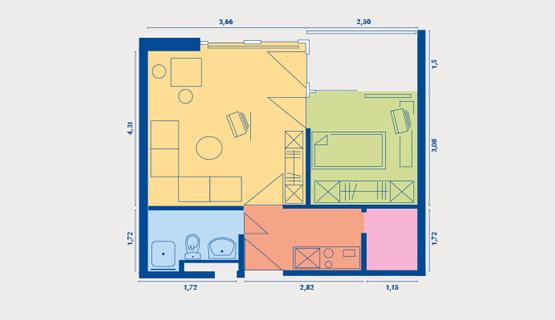 Beispielappartement Typ II | 1,5-Zimmer-Wohnung | ca. 35 m2