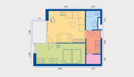 Beispielappartement Typ III | 2-Zimmer-Wohnung | ca. 42 m2