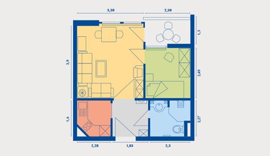 Beispielappartement Typ IV | 1,5-Zimmer-Wohnung | ca. 35 m2