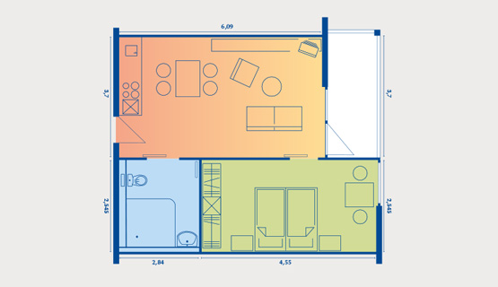 Beispielappartement Typ V | 2-Zimmer-Wohnung (saniert) | ca. 42 m2
