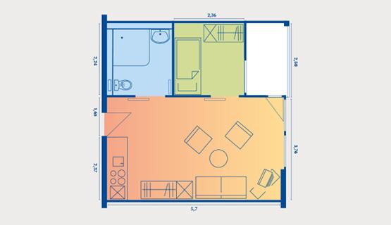 Beispielappartement Typ VI | 1,5-Zimmer-Wohnung (saniert) | ca. 35 m2