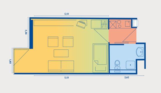 Beispielappartement Typ I | 1-Zimmer-Wohnung | ca. 27,42 m2