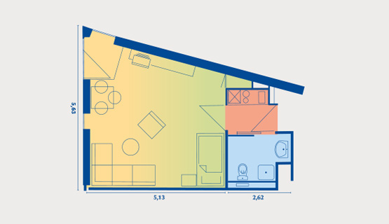 Beispielappartement Typ II | 1,5-Zimmer-Wohnung | ca. 32,98 m2