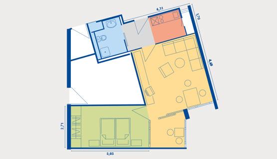 Beispielappartement Typ III | 2-Zimmer-Wohnung | ca. 51,14 m2