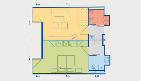 Beispielappartement Typ IV | 2-Zimmer-Wohnung | ca. 55,12 m2