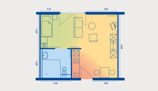 Beispielappartement Typ V | 1,5-Zimmer-Wohnung | ca. 32 m2