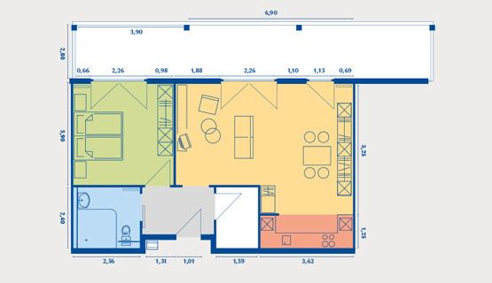 Beispielappartement Typ VI | 2-Zimmer-Wohnung | ca. 63,92 m2, zzgl. Loggia 16,88 m2