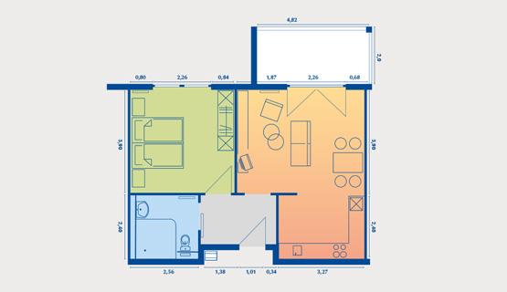 Beispielappartement Typ VII | 2-Zimmer-Wohnung | ca. 51,47 m2, zzgl. Terrasse 8,23 m2